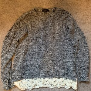 Black/White Speckled Sweater with Lace - Small